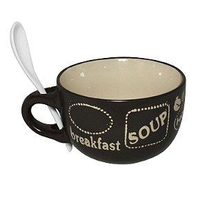 Tigelas Para Sopa com Colher de Cerâmica