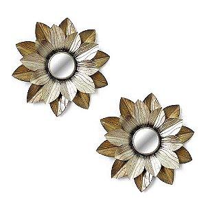 Conjunto de Espelhos de Metal Flor Dourada DeMelo