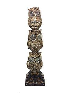 Coruja Decorativa de Resina 3 Corujas 35cm