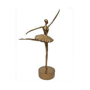 Bailarina Dourada de Resina 36cm DeMelo