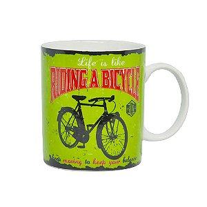 Caneca Bikes Verde 320ml de Porcelana DM Brasil