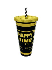 Copo Com Canudo Preto Happy Time 650ml Aladdin