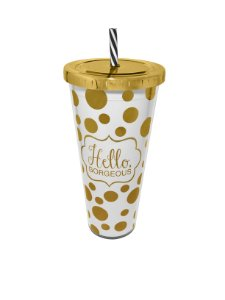 Copo Com Canudo Branco Hello Georgeous 650ml Aladdin