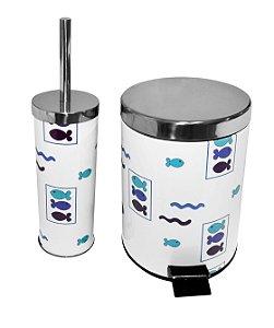 Conjunto Lixeira e Escova para Banheiro Peixinhos 5 Litros