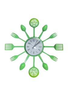 Relógio de Parede para Cozinha Talheres Verde Plástico