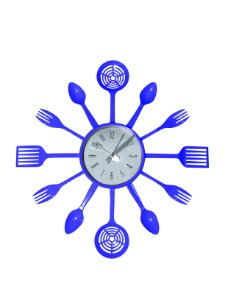 Relógio de Parede Talheres Azul Plástico
