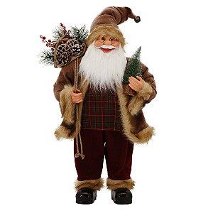 Papai Noel Rústico 61cm Alpino Xadrez Magizi
