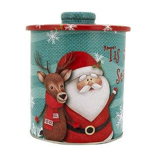 Jogo Latas Natalinas Decoradas Papai Noel Com Puxador 2 Peças Magizi