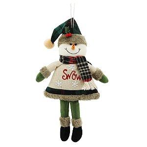 Boneco de Neve Winter 35cm Para Pendurar