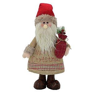 Papai Noel Decorativo Rústico Merry Christmas Em Pé Santini Christmas 40cm