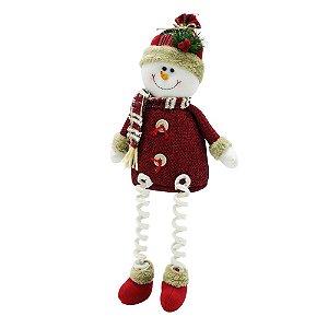 Boneco de Neve Sentado Pernas de Mola Xadrez Santini Christmas