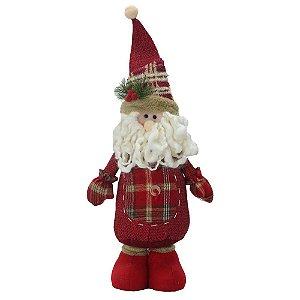 Papai Noel Decorativo Rústico Xadrez Em Pé Santini Christmas 40cm