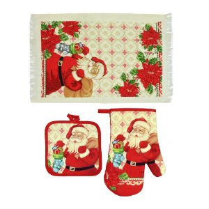 Kit de Toalha para Cozinha Papai Noel 3 Peças Santini Christmas
