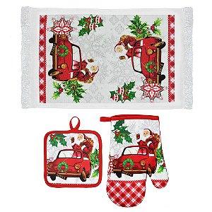 Kit de Toalha para Cozinha Branco Papai Noel 3 Peças Santini Christmas