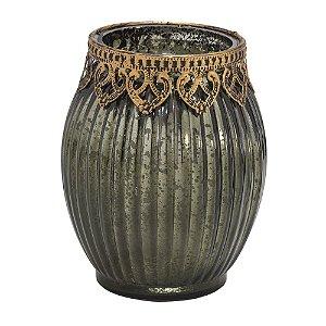 Castiçal de Vidro Verde com Dourado Espressione 14cm