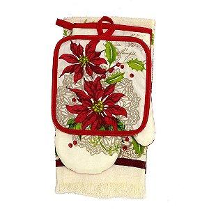 Kit de Toalha para Cozinha Creme Flores de Natal 3 Peças Santini Christmas