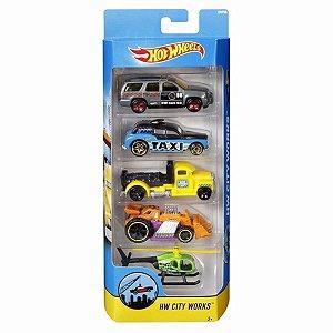 Conjunto de Carrinhos Hot Wheels 5 Unidades HW City Works DVF98 Mattel