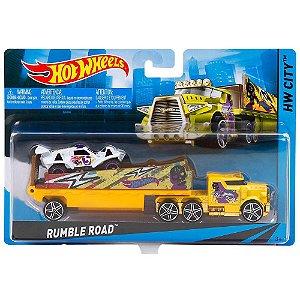 Caminhão Hot Wheels Rumble Road Com Carrinho BDW56 Mattel