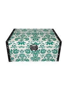Caixa Baú de Madeira Floral Verde Grande