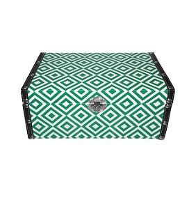 Caixa Baú de Madeira Geométrica Verde Pequena