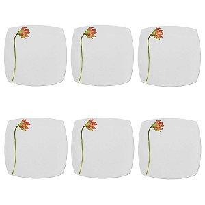Conjunto de Pratos de Sobremesa Branco com Flor 6 Peças Porto Brasil
