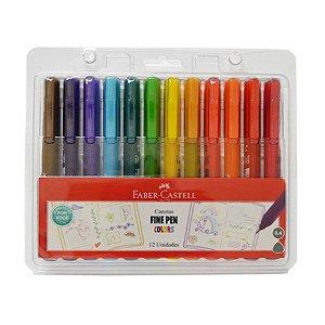 Kit Canetas Fine Pen Colors Faber-Castell 12 Unidades