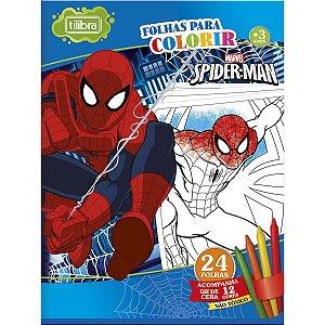 Folhas para Colorir Spider-Man Grande com Giz de Cera 24 Folhas Tilibra