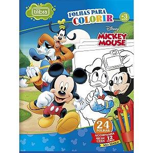 Folhas Para Colorir Mickey Mouse Grande Com Giz De Cera 24 Folhas Tilibra