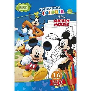 Folhas Para Colorir Gigante Mickey Mouse Com Giz De Cera 16 Folhas Tilibra