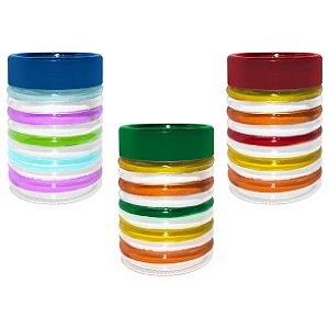 Conjunto de Potes de Vidro Colorido com Tampa 3 Peças