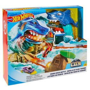 Pìsta Hot Wheels Batalha na Praia do Tubarão Mattel