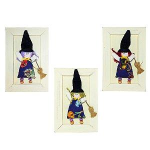 Trio Quadrinhos de Madeira Bruxinhas de Tecido 21cm