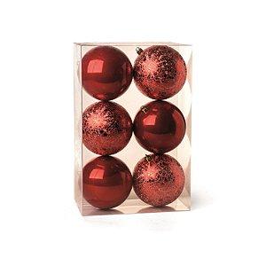 Conjunto de Bolas de Natal Cromus Vermelha 8cm Perolada e Craquelada 6 peças
