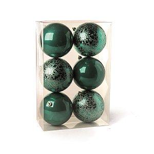 Conjunto de Bolas de Natal Cromus Verde 8cm Perolada e Craquelada 6 peças