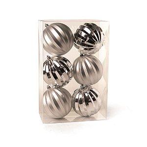 Conjunto de Bolas de Natal Gomos Prata 8cm 6 peças Cromus