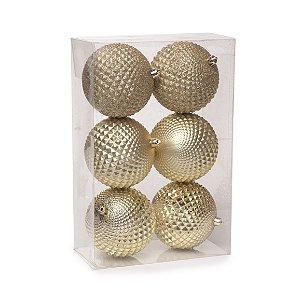Conjunto de Bolas de Natal Dourada 8cm Cromus