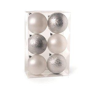 Conjunto de Bolas de Natal Cromus Branca e Prata 10cm Perolada e Craquelada 6 unidades
