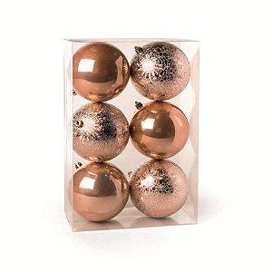 Conjunto de Bolas de Natal Cromus Cobre 10cm Perolada e Craquelada 6 unidades