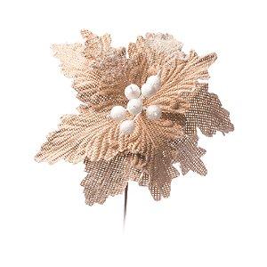 Flor de Natal Poinsetia Juta Marfim com Branco Cabo Curto Cromus