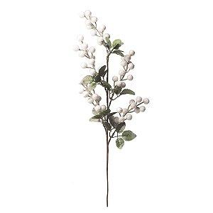 Galho Folhas e Frutas de Natal Branco 53cm 3 unidades