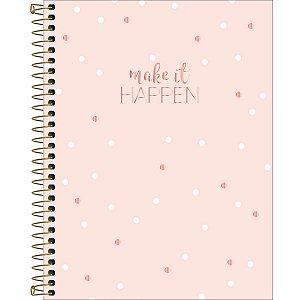 Caderno Colegial Soho Rosa com Bolinhas 1 Matéria 80 Folhas Tilibra