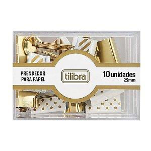 Prendedor de Papel Dourado, Listras e Bolinhas 25mm Tilibra COM  10 unidades