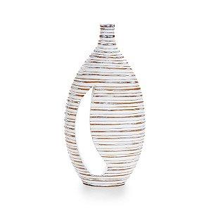 Vaso Decorativo Cromus Stripes Branco 50cm