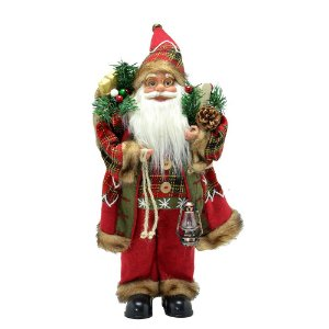 Papai Noel Decorativo Luxo Xadrez com Esqui e Lampião Santini Christmas