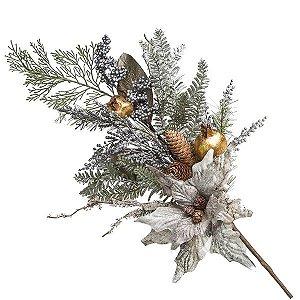 Flor de Natal Prata Neutra Pick Poinsetia Romã 75cm Tok da Casa