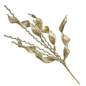 Galho de Natal Dourado Alga Felice 75cm Tok da Casa 4 Peças