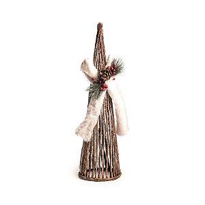 Árvore de Natal Decorativa Cone Rústico Chalé com Laço Cromus 60cm