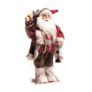Papai Noel Decorativo Cromus Vermelho com Lampião 50cm