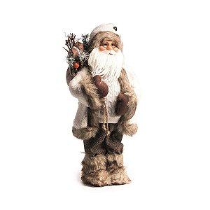 Papai Noel Decorativo Cromus Branco e Marrom com Lampião 50cm
