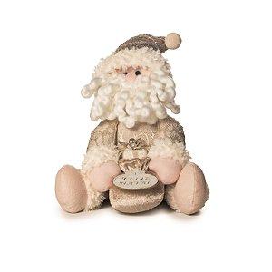 Papai Noel Decorativo Cromus Dourado Atenas Sentado 25cm
